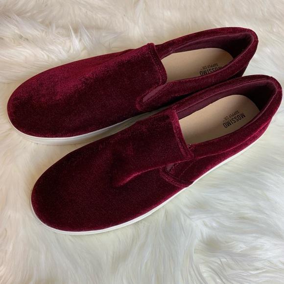 Mossimo Red Velvet Slip On Sneakers